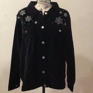 Quacker Factory Velvet Denim style jacket
